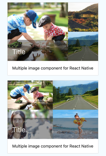 Card Media component for React Native Also supports multiple