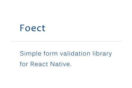Simple form validation library for React Native