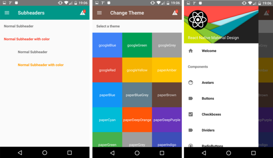 Highly customizable material design components for React Native