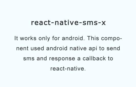 A react native api to send SMS messages