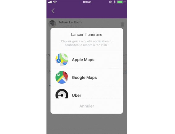 Open a location in a map app of the user's choice
