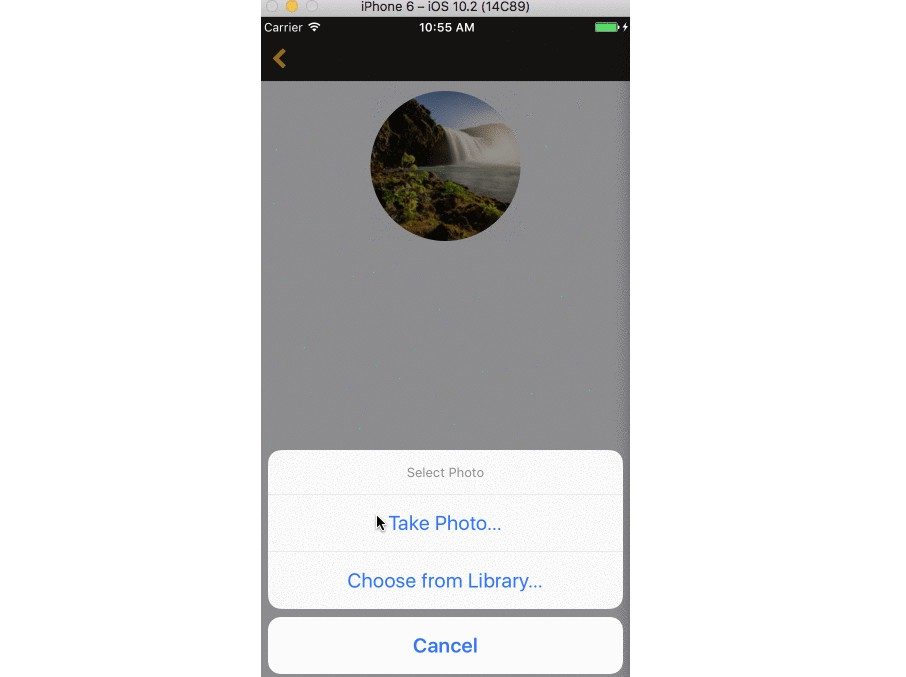 Cross platform photo upload component for react native