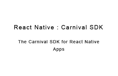 Wraps the native Carnival SDK for React Native apps