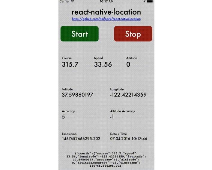 React Native plug-in that provides GPS location information
