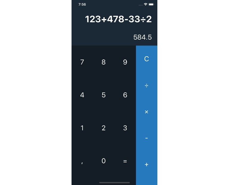 Calculator Built with react native
