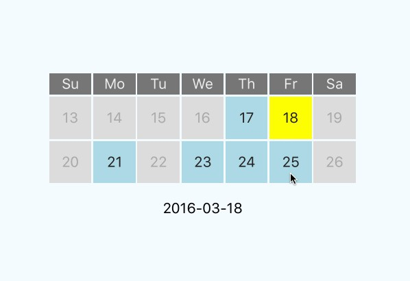 Simple mini calendar or date picker for React Native