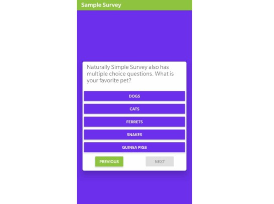 Simpel to use JSON based survey component for React Native