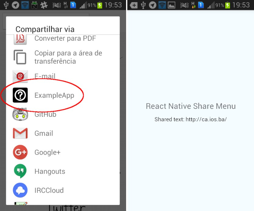 A module for React Native that adds your app to the share menu of the device