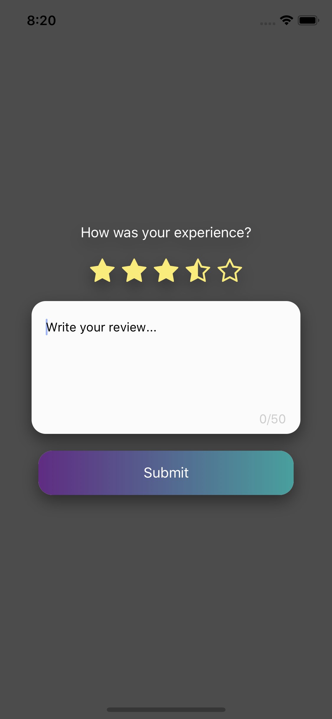 Review Modal with dynamic rate system and comment feature for React