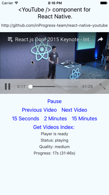 A YouTube component for React Native