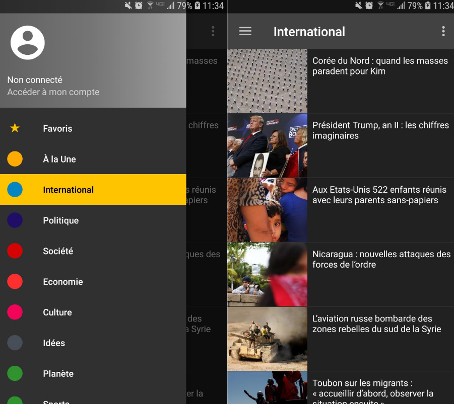 Read RSS feed from LeMonde.fr and display news inside the App