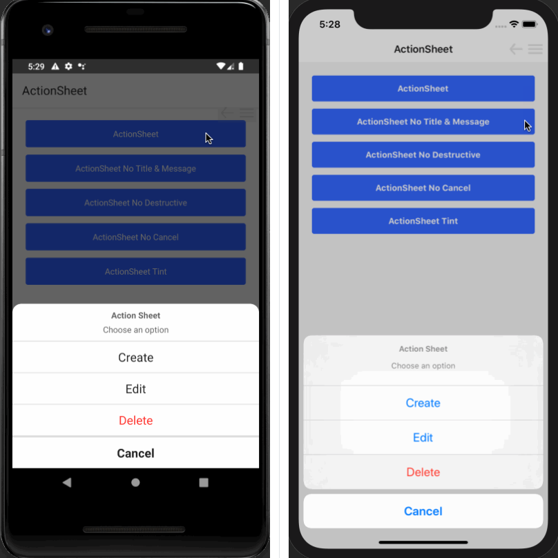 Cross Platform Actionsheets with Native Android implementation